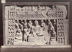 Sculpture piece representing Buddha teaching, Peshawar District